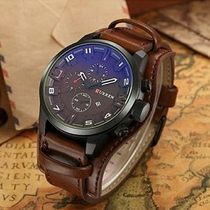 Other - BROWN Men's Sports Waterproof Leather Strap Date W